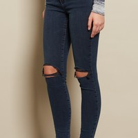 Blue Black Retro High Waist Jegging
