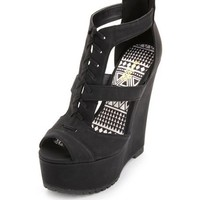 Peep Toe Cut-Out Wedge Sandal
