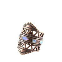 Maya Mastaba Ring in Opal and Brass