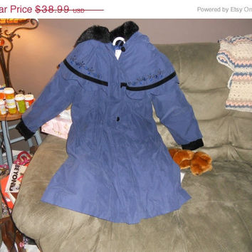 20% Store Wide Sale girls dressy jacket / coat  blue with black velvet trim with flowers