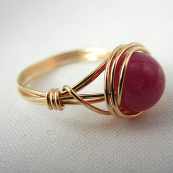 4kt Gold-Filled Jewelry Pink Sapphire/Ruby Ring
