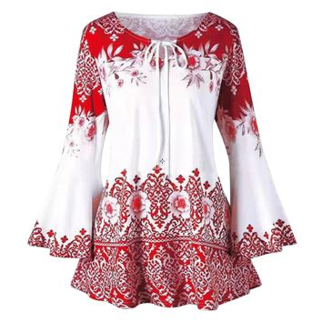 Laamei Women Long Flare Sleeve Blouses Floral Print Vintage Tunic Lace Up Blouse Women Ethnic Casual Shirts Top Blusas Feminina