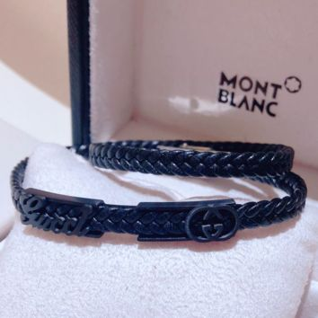 GUCCI Personality Fashion New Leather Rope Women Men Bracelet Black
