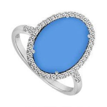 14K White Gold Blue Chalcedony and Diamond Ring 16.00 CT TGW