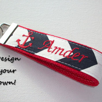 Key FOB / KeyChain / Wristlet  - Anchor monogram on your choice of chevron preppy -  custom - design your own