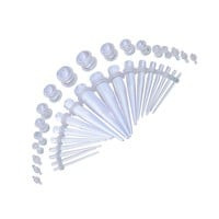 BodyJ4You Gauge Kit 18 Pairs Clear Acrylic Tapers & Plugs 14G 12G 10G 8G 6G 4G 2G 0G 00G 36 Pieces