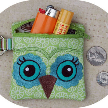 In the Hoop Small Owl Wristlet Machine Embroidery Design File Instant Download
