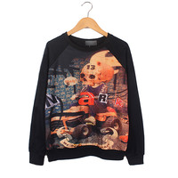 Black Long Sleeve Cartoon Skull Print Sweatshirt orange