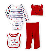 Koala Baby Boys 4 Piece White Allover Crab Print Bodysuit, Red Footed Pant, Hat and