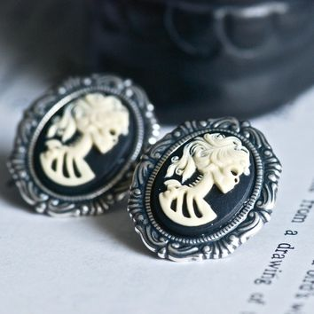 Miss Skeleton Rococo earrings - Ivory Black Gothic Zombie Girl Cameo - Made in USA findings