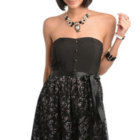 Strapless Button Embroidered Tulle Dress