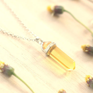Yellow Citrine Crystal Point Pendant, Long Chain Silver Necklace, Good Vibe Necklace,Success Necklace,Positive Energy Necklace, Gift for mom