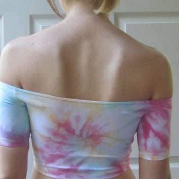 Bright and Colorful Medium Tie Dyed Off the Shoulder Crop Top