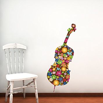Colorful Cello Wall Decals Violin Contrabass Musical Instrument Music Recording Studio Full Color Flowers Floral Patterns Wall Vinyl Decal Stickers Bedroom Murals