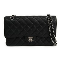Chanel Matelasse Double Flap Double Chain Bag A01112 Women's Caviar Lea BF314058