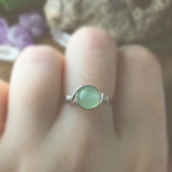 Silver Mint Jade Ring - bohemian jewelry - wire wrapped ring - unique rings - boho rings - cute rings - gypsy rings - bohemian rings