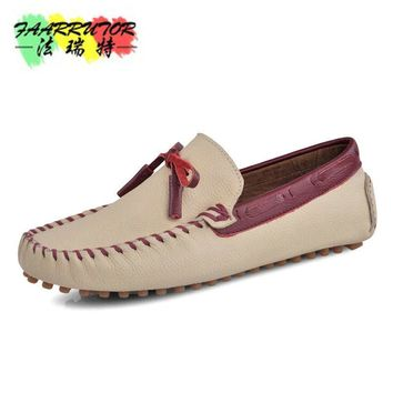 Men's Summer Slip-on Casual Moccasins Genuine The Penny Loafers Breathable Shoe Boat Driving Shoes In Leather Flat Shoes For Men