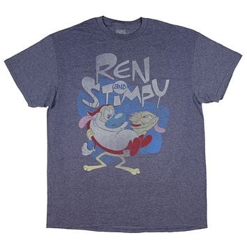 Nickelodeon Ren And Stimpy Shirt Distressed Men's TV Cartoon Pop Graphic Tee
