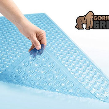 "The Original GORILLA GRIP (TM) Non-Slip Bath and Shower Mat Featuring Powerful Gripping Technology, Highest Quality Material, Fits Any Size Bath Tub (Blue: Rectangle 35"" x 16"")"