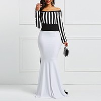Sheath Dress Elegant Women Off Sholuder Long Sleeve Stripes Color Block White Black Bodycon Maxi Mermaid Party Dress