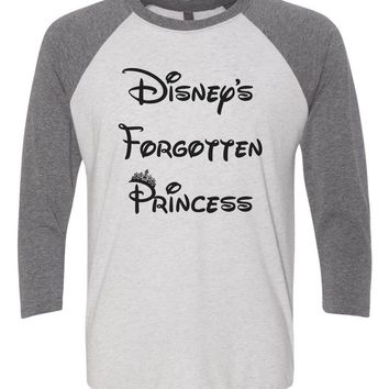 Disney's Forgotten Princess - Raglan Baseball Tshirt- Unisex Sizing 3/4 Sleeve