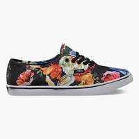 Vans Floral Authentic Lo Pro Womens Shoes Black/True White  In Sizes
