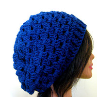 Navy Slouchy Hat Blue Lacy Slouch Cap Oversize Womens Beanie