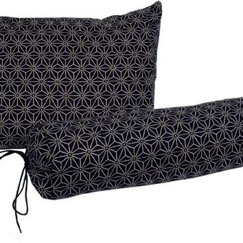 J-Life Asa No Ha Navy #1 Buckwheat Hull Pillow