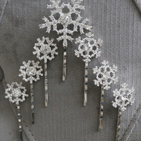 Elsa Inspired Snowflake Hair Clips/ Bobby Pins. Metal/ Rhinestones. Wig/ Hair. Cosplay, Wedding, Christmas, Princess