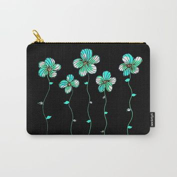 Green Flowers Carry-All Pouch by ES Creative Designs