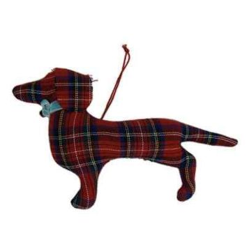 Faux Wool Dachshund Christmas Ornament Plaid