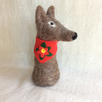 Needle felted Dog Felting Wolf Christmas animal felting dog sculpture felting unique gift one of a kind fiber art cute figurine OOAK