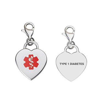 Divoti Custom Engraved Adorable Heart 316L Medical Alert Charm wLobster Clasp