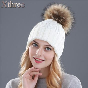 XTHREE  fox fur pompom hat knitted real mink hat Winter Hat For Women Girls Wool Hat Knitted Cotton Beanies Cap