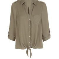 Khaki Single Pocket Tie Front Roll Sleeve Shirt
