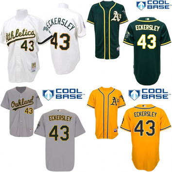 White green grey yellow Throwback Dennis Eckersley Authentic Jersey , Men's #43 Mitchell And Ness Oakland Athletics