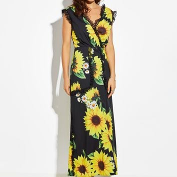 Chicloth Yellow Sunflower V-Neck Lace Edge Maxi Dress