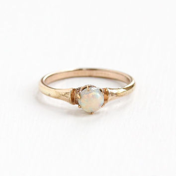 Vintage Rosy Yellow Gold Tone Simulated Opal Ring - 1930s Art Deco Size 6 3/4 Colorful Glass Cabochon Jewelry Hallmarked Trade S Mark