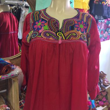 Mexican Embroidered Blouse 1000 Knots Hot Pink