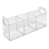 """InterDesign Clarity Cosmetic Organizer Tote for Vanity Cabinet to Hold Makeup, Beauty Products - 9"""" x 3"""" x 4"""", Clear"""