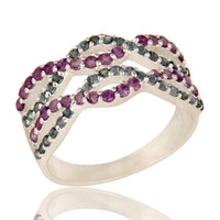 925 Sterling Silver Amethyst And London Blue Topaz Accent Infinity Design Ring