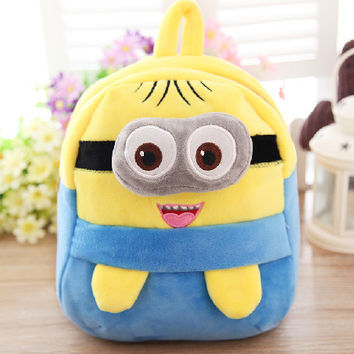 22*20cm minion plush backpack, minion school bag for kids, minion plush animal backpack for kids