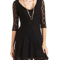 Flared Lace Skater Dress by Charlotte Russe - Black