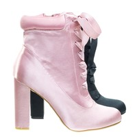 Living30 Mauve Pink by Bamboo, Satin Lita Block Heel Boots w Padded Collar & Ribbon Lace Up