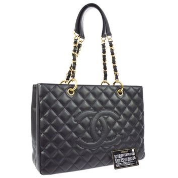 Auth CHANEL Quilted CC Chain Hand Tote Bag Bag Black Caviar Skin Leather RK13449