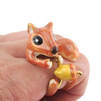 Little Chipmunk Squirrel Shaped Three Piece Stackable Animal Ring
