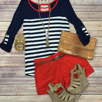 Savy Stripes 3/4 Top: Navy