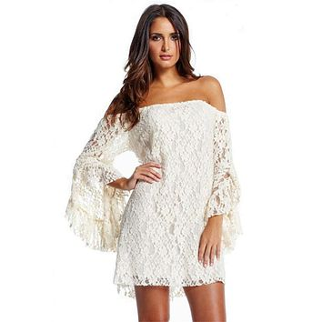 2017 summer new Cream Lace Off-The-Shoulder half sleeve white women sexy dress fashion LC2809 casual clothing plus size S-XXL