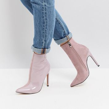 Public Desire Yuri Lilac Contrast Stiletto Heeled Ankle Boots at asos.com