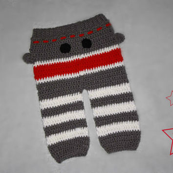 Crocheted Sock Monkey Infant Pants Newborn to 18 Months